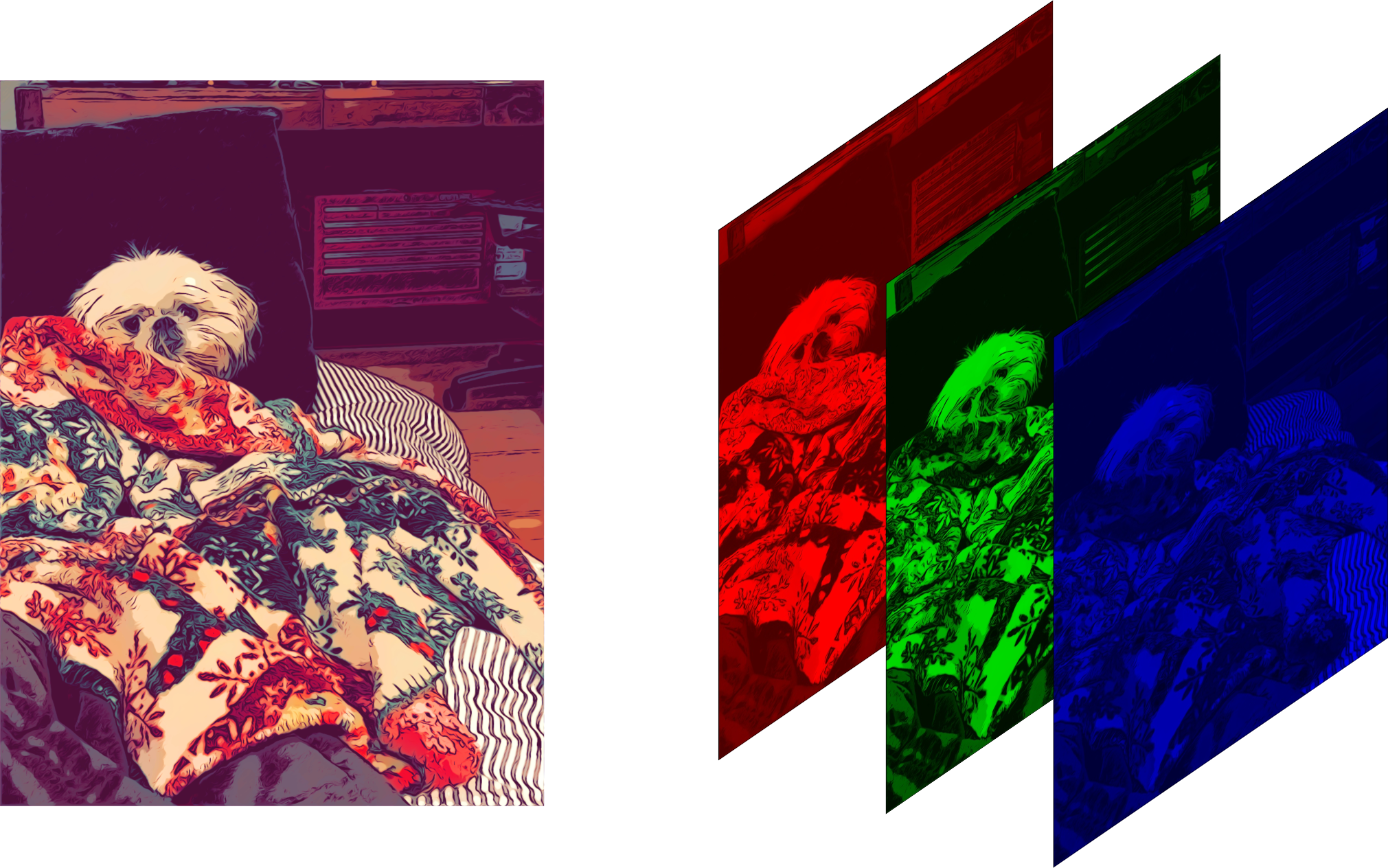 Color image with red, green, and blue channels
