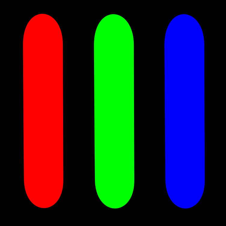 A pixel composed of red, green, and blue LEDs