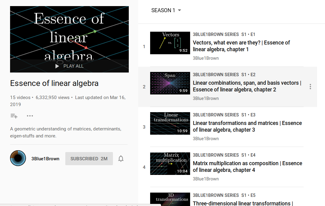 3 Blue 1 Brown You Tube playlist for linear algebra course